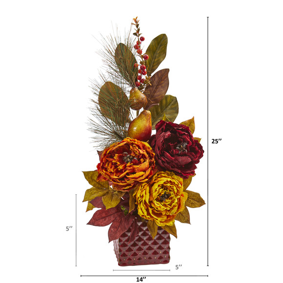 25 Peony Pear and Magnolia Leaf Artificial Arrangement in Red Vase - SKU #A1263-AS - 1
