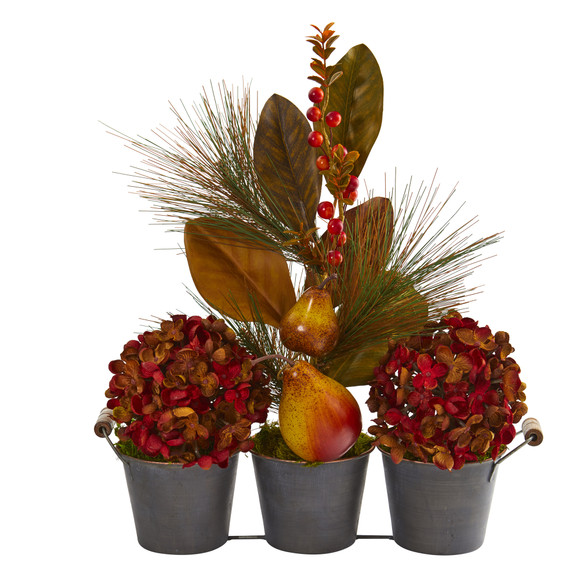 17 Fall Hydrangea Pears and Magnolia Leaf Artificial Arrangement in Trio Metal Vase - SKU #A1264