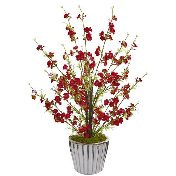 24 Cherry Blossom Artificial Arrangement in White Vase with Silver Trimming - SKU #A1265