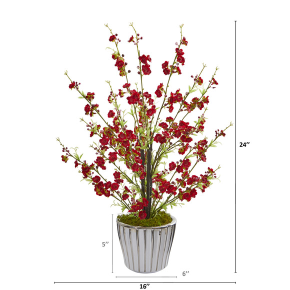 24 Cherry Blossom Artificial Arrangement in White Vase with Silver Trimming - SKU #A1265 - 1