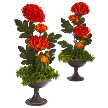 18 Mum and Cactus Artificial Arrangement in Metal Chalice Set of 2 - SKU #A1268-S2
