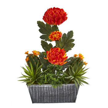 17 Mum and Succulent Artificial Arrangement in Embossed Tin Vase - SKU #A1269