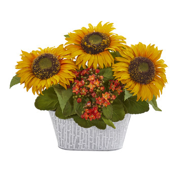14 Sunflower and Kalanchoe Artificial Arrangement in White Tin Vase - SKU #A1270