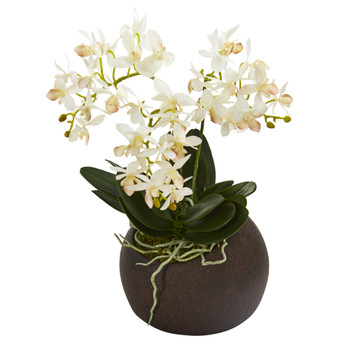11 Mini Orchid Phalaenopsis Artificial Arrangement in Stone Vase - SKU #A1271