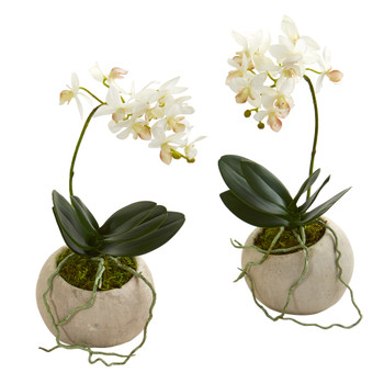 9 Mini Orchid Phalaenopsis Artificial Arrangement in Stone Vase Set of 2 - SKU #A1272-S2
