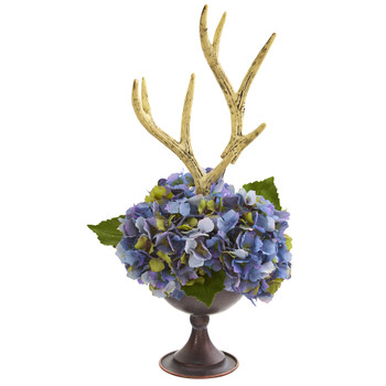 18 Hydrangea and Antlers Artificial Arrangement in Metal Chalice - SKU #A1273