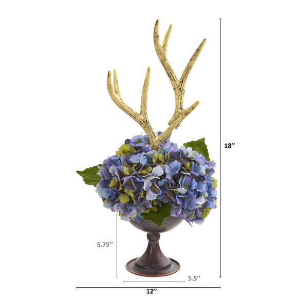 18 Hydrangea and Antlers Artificial Arrangement in Metal Chalice - SKU #A1273 - 1