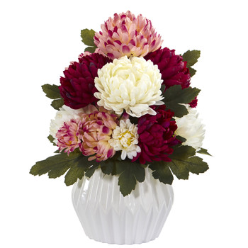 16 Mum Artificial Arrangement in White Vase - SKU #A1275-AS