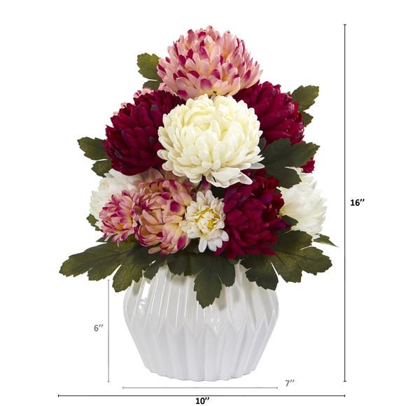 16 Mum Artificial Arrangement in White Vase - SKU #A1275-AS - 1