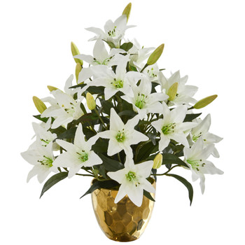 21 Lily Artificial Arrangement in Designer Gold Bowl - SKU #A1276