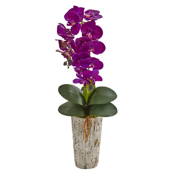 25 Phalaenopsis Orchid Artificial Arrangement in Weathered Oak Vase - SKU #A1277