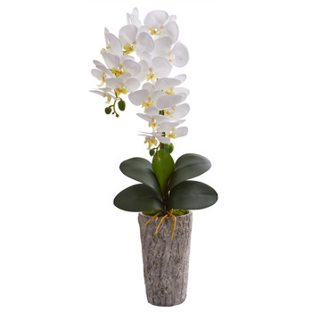25 Phalaenopsis Orchid Artificial Arrangement in Weathered Oak Vase - SKU #A1277