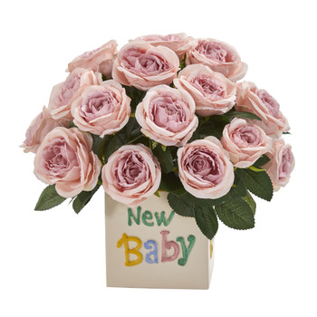 12 Rose Artificial Arrangement New Baby Vase - SKU #A1278