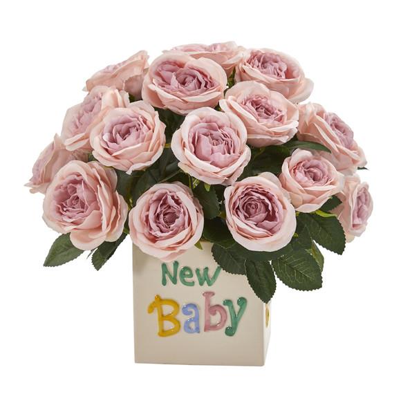 12 Rose Artificial Arrangement New Baby Vase - SKU #A1278