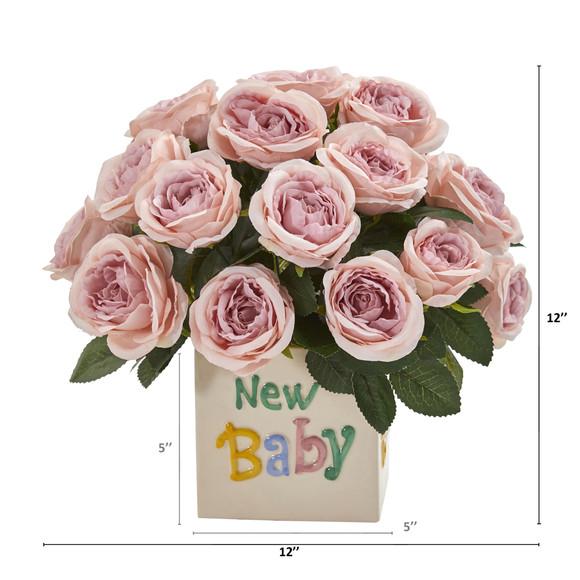 12 Rose Artificial Arrangement New Baby Vase - SKU #A1278 - 1