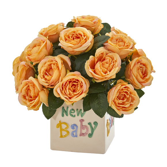12 Rose Artificial Arrangement New Baby Vase - SKU #A1278 - 2
