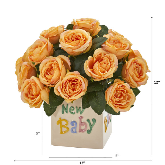 12 Rose Artificial Arrangement New Baby Vase - SKU #A1278 - 3