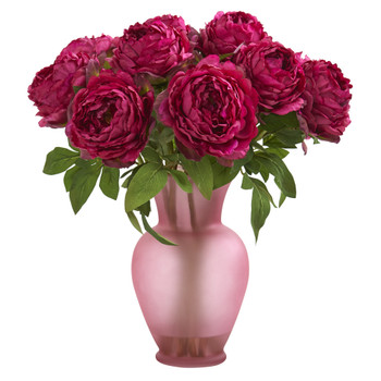 18 Peony Artificial Arrangement in Rose Colored Vase - SKU #A1279-OR