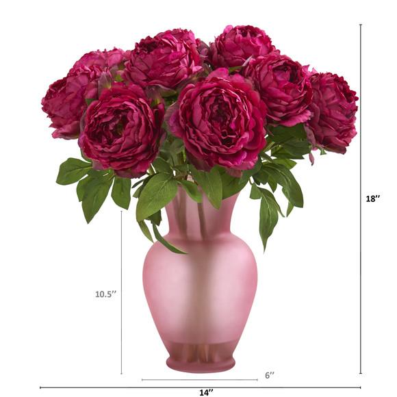 18 Peony Artificial Arrangement in Rose Colored Vase - SKU #A1279 - 1