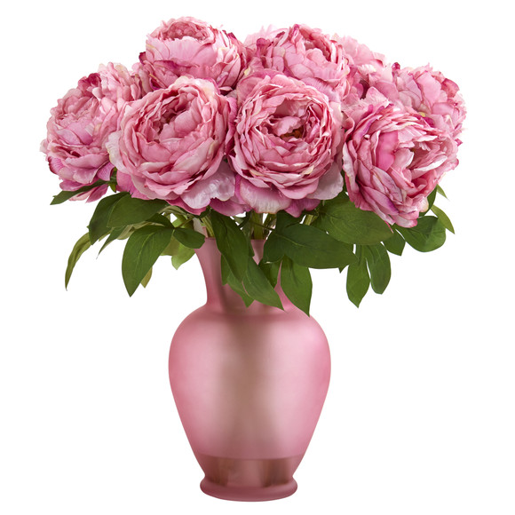 18 Peony Artificial Arrangement in Rose Colored Vase - SKU #A1279 - 2