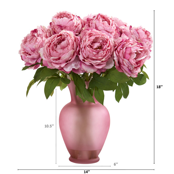 18 Peony Artificial Arrangement in Rose Colored Vase - SKU #A1279 - 3