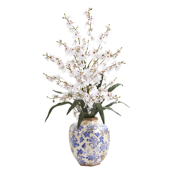 28 Dancing Lady Orchid Artificial Arrangement in Decorative Vase - SKU #A1281