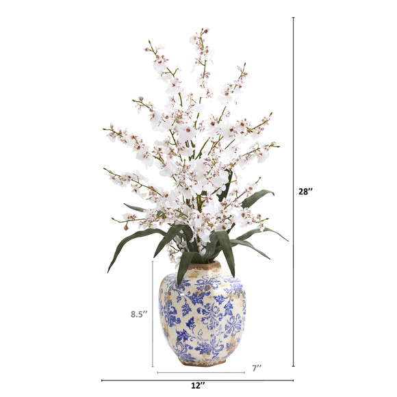 28 Dancing Lady Orchid Artificial Arrangement in Decorative Vase - SKU #A1281 - 1