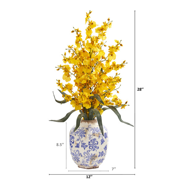 28 Dancing Lady Orchid Artificial Arrangement in Decorative Vase - SKU #A1281 - 4