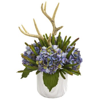 19 Hydrangeas Succulent and Antlers Artificial Arrangement in Marble Vase - SKU #A1282