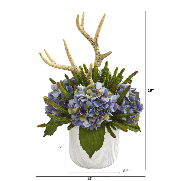 19 Hydrangeas Succulent and Antlers Artificial Arrangement in Marble Vase - SKU #A1282 - 1
