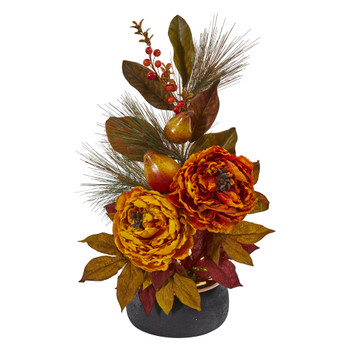 22 Peony Pear and Magnolia Leaf Artificial Arrangement in Black Vase with Copper Rim - SKU #A1283-AS
