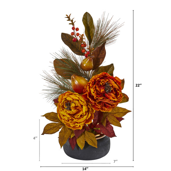 22 Peony Pear and Magnolia Leaf Artificial Arrangement in Black Vase with Copper Rim - SKU #A1283-AS - 1