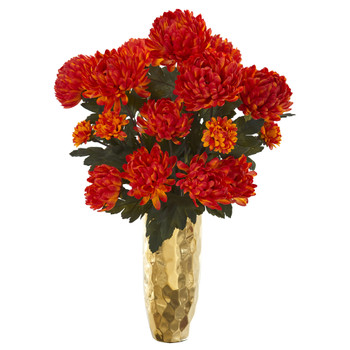 26 Mum Artificial Arrangement in Gold Vase - SKU #A1284