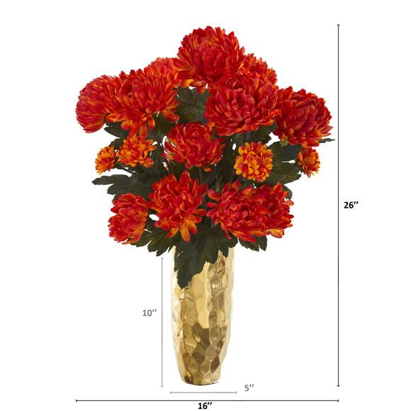 26 Mum Artificial Arrangement in Gold Vase - SKU #A1284 - 1