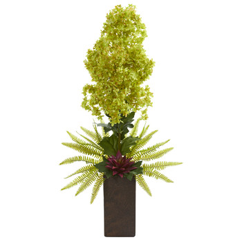 34 Hydrangea and Succulent Artificial Arrangement in Weathered Brown Vase - SKU #A1285