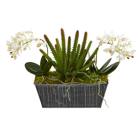 13 Orchid Phalaenopsis and Succulent Artificial Arrangement in Embossed Tin Vase - SKU #A1286