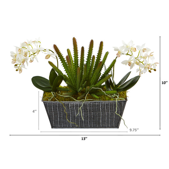 13 Orchid Phalaenopsis and Succulent Artificial Arrangement in Embossed Tin Vase - SKU #A1286 - 1
