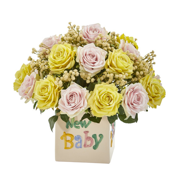 14 Rose and Gypsophillia Artificial Arrangement in New Baby Vase - SKU #A1288-AS