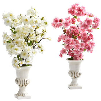 20 Cherry Blossom Artificial Arrangement in White Urn Set of 2 - SKU #A1289-S2-WP