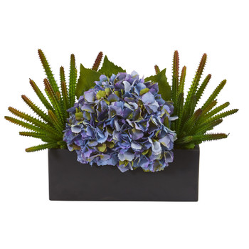 16 Hydrangea and Succulent Artificial Arrangement in Matte Black Vase - SKU #A1291
