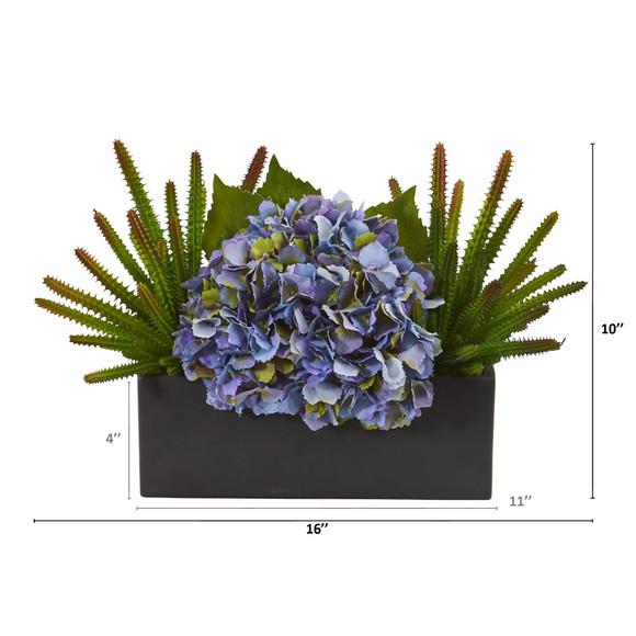16 Hydrangea and Succulent Artificial Arrangement in Matte Black Vase - SKU #A1291 - 1