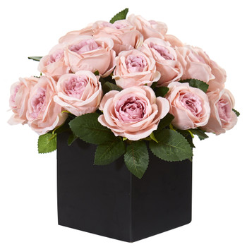 11 Rose Artificial Arrangement in Black Vase - SKU #A1292-PK