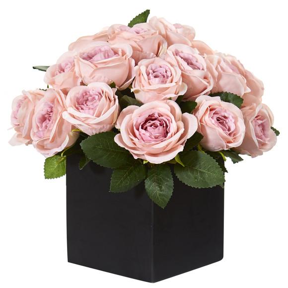 11 Rose Artificial Arrangement in Black Vase - SKU #A1292
