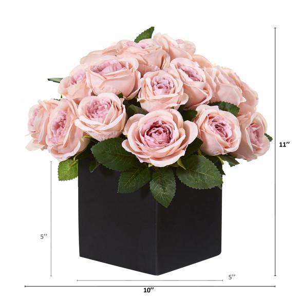 11 Rose Artificial Arrangement in Black Vase - SKU #A1292 - 1