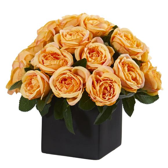 11 Rose Artificial Arrangement in Black Vase - SKU #A1292 - 2