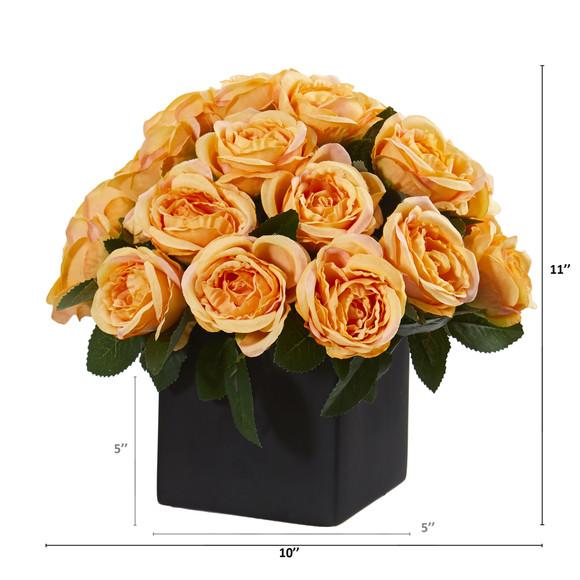 11 Rose Artificial Arrangement in Black Vase - SKU #A1292 - 3