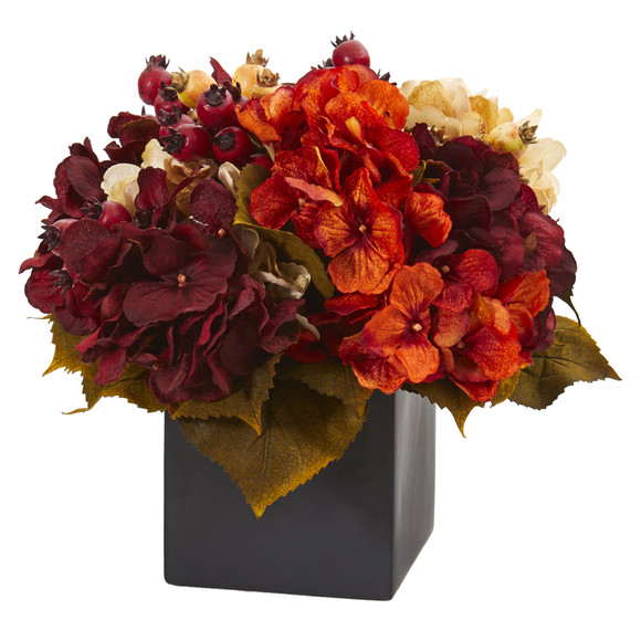 12 Autumn Hydrangea Berry Artificial Arrangement in Black Vase - SKU #A1293