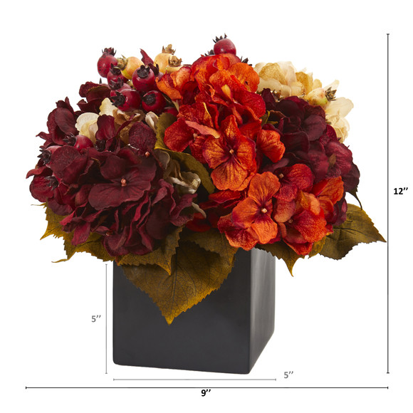 12 Autumn Hydrangea Berry Artificial Arrangement in Black Vase - SKU #A1293 - 1