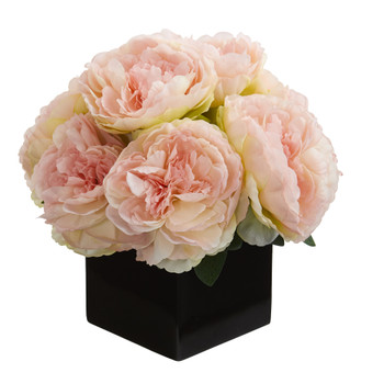 11 Peony Artificial Arrangement in Black Vase - SKU #A1295