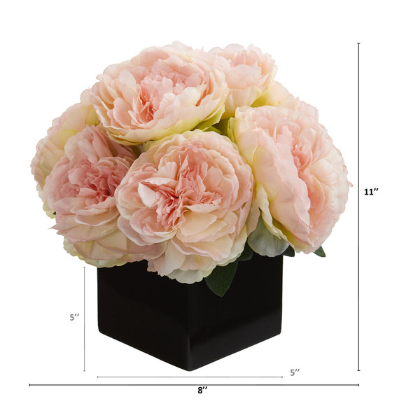 11 Peony Artificial Arrangement in Black Vase - SKU #A1295 - 1